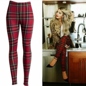 Pants - PLUS Holiday Plaid Jersey Slinky Red Leggings