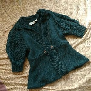 Teal Knit Anthropologie Sweater by Charlie & Robin