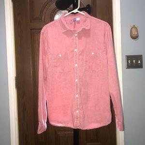 H&M red bottom down men shirt size Large.