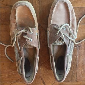 Women's bluefish boat shoe (linen/ oat)