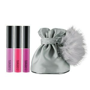 MAC Mini Lipglass Set with Silver Fluffy Pouch LE