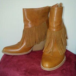 Camel/ Tan color fringe boots