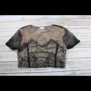 NWOT Tobi Black & Nude Lace Crop Top