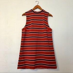 High Neck Striped Shift Dress