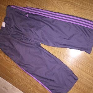 ADIDAS purple athletic Capri pants womens large