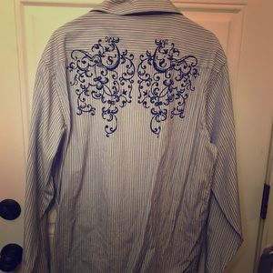 Men's BLU/wh striped shirt embroidered back XXL