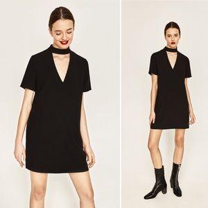 Zara | Mini Shift Dress with Choker Collar