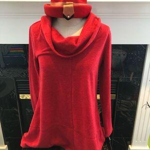 Style & Co. Cowl Red Winter Escape NWT