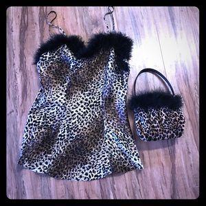 Maidenform leopard chemise M & matching little bag