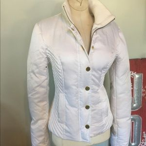 Bebe Fitted White Puffer Jacket Sz S