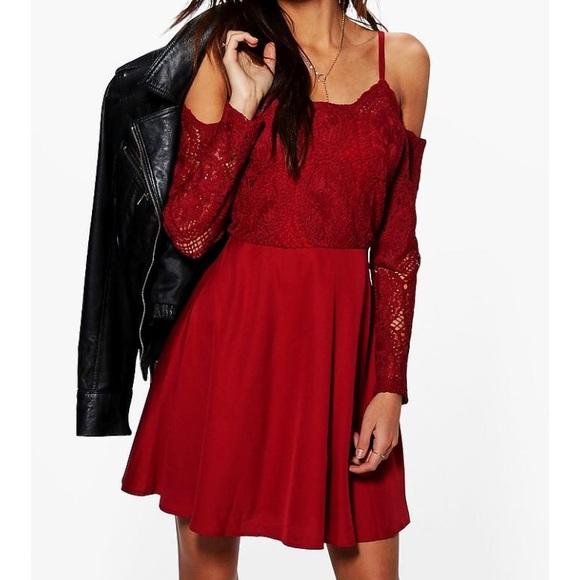 Boohoo Dresses   Skirts - BOOHOO PAM CORD LACE SKATER DRESS e6bb74107