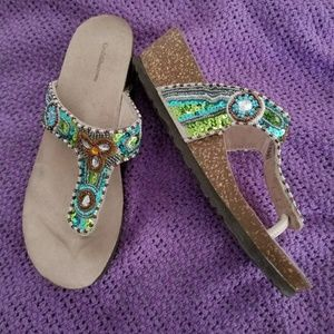 Green & Blue Sequined Cork Sandal