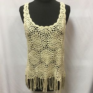 INC crochet fringe tank top size XL