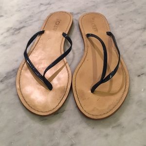 J Crew Navy Patent Leather Sandals