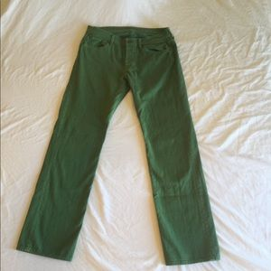 7 For All Mankind Green Jeans 33W 33.5L Mens