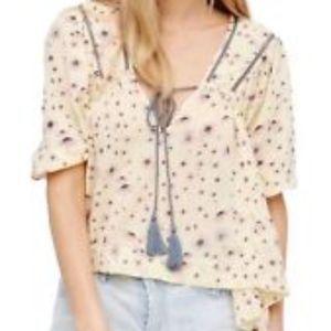 Free People Never a Dull Moment floral peasant top