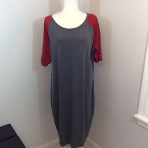 LULAROE Gray Red Patter Sleeves Julia Tunic Dress