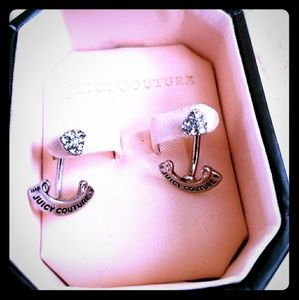Juicy Couture stud earrings with JC jackets