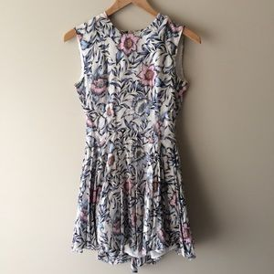 H&M Pink Blue Floral Flirty Dress Fit and Flare