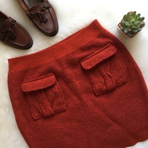 Anthropologie Rust Red Sweater Skirt