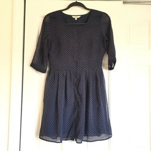 Navy Blue Dress with Pink and Olive Pattern