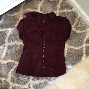 Banana Republic Maroon Stretch Blouse