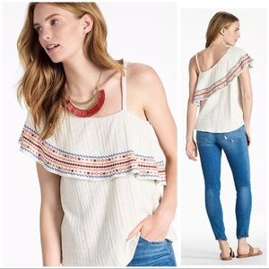 Lucky Brand size S One Shoulder Embroidered Top