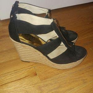 Michael kors black wedge shoes size 9