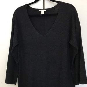 H&M Dark Grey Ribbed Slouchy Sweater