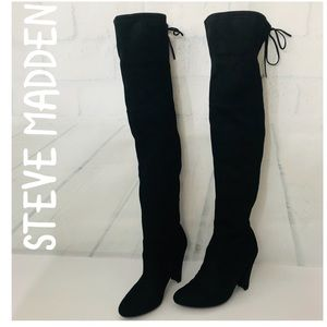 STEVE MADDEN OVER THE KNEE SUEDE BOOTS SZ 8M