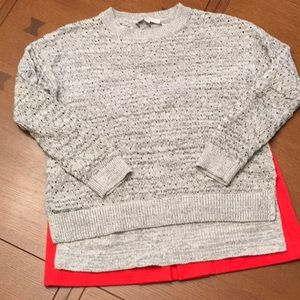 Awesome Open Weave Hi-lo Loft Grey Sweater