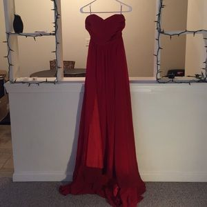 Long, red, strapless dress