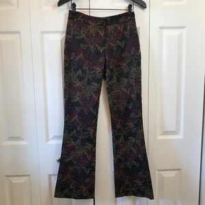 Cache Black Gold Maroon Embroidered Boot Cut Pant