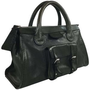 Chloe Edith Satchel Bag Dark Green Leather