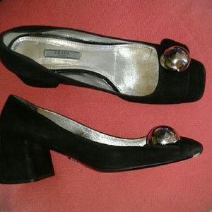 Prada Silver button black suede chunky heel pumps