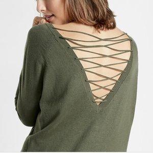Express Lace Up back Circle Hem Sweater