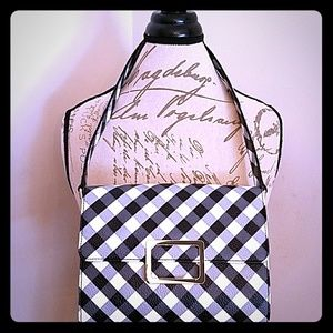 Talbots Black and White Gingham Purse