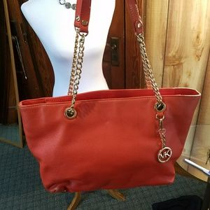 Michael Kors Orange Leather Handbag.