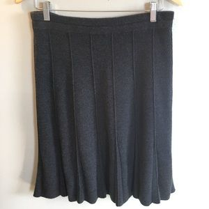 Eileen Fisher 100% Wool Gray Ribbed Skirt