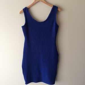 Royal Blue Textured Stretchy Fitted Bodycon Dress