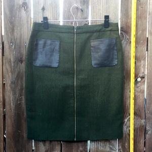 Green and Black Pencil Skirt Leather Pockets