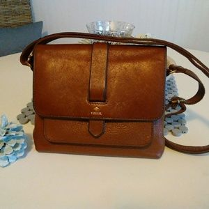 Fossil Leather Brown Sm Kinley Crossbody Bag Purse