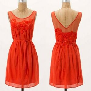 Meadow Rue Sangeet Orange Embroided Mini Dress