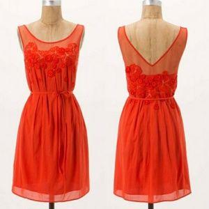 Meadow Rue Sangeet Orange Embroided Mini Dress