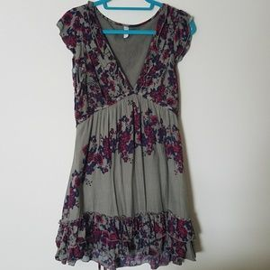 Free People Floral Ruffle Dress