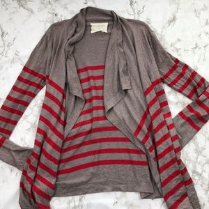Loft Oversized Open Drape Front Striped Cardigan