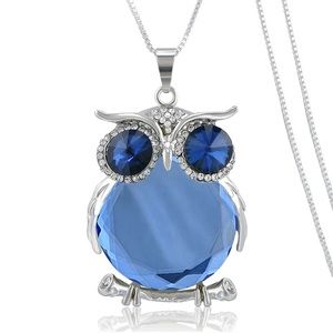 Blue Owl Crystal necklace