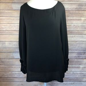 LOFT Black Crepe Blouse.