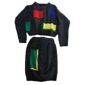 80s Vtg Retro Color Block Cropped Sweater & Skirt
