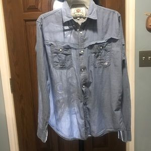 Ed Hardy Sz. S Bottom down light blue men shirt